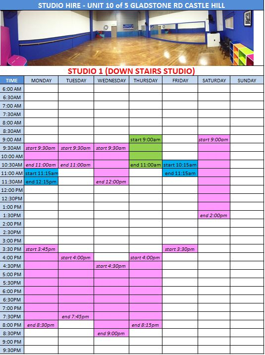 Studio 1 2015 timetable as at 14112014